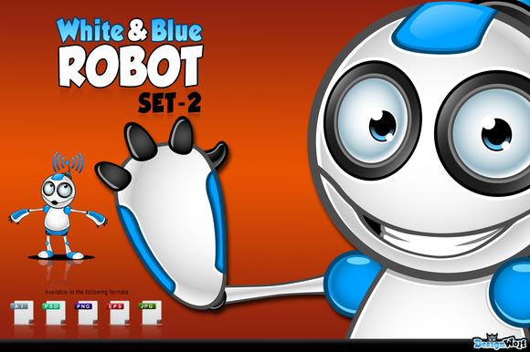 White Blue Robot Character Set 2