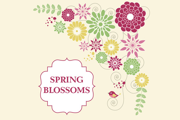 Digital Spring Blossoms Clip Art