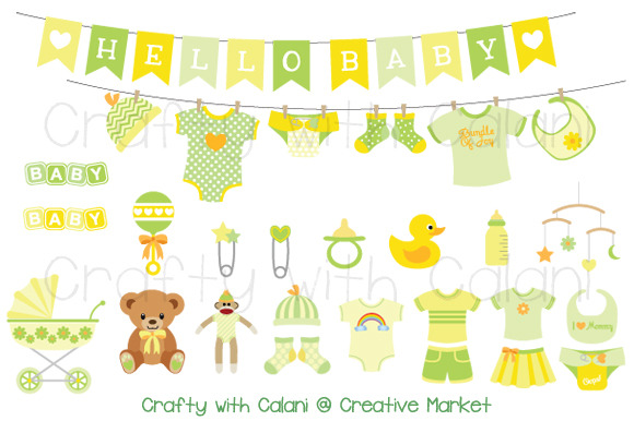 Yellow Green Baby Clipart Set