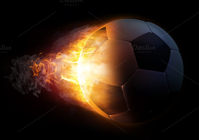 Soccer Ball In Fire Illustration