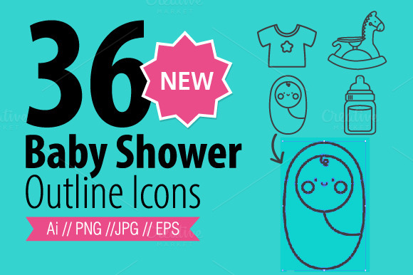 36 Baby Shower-Outline Icons