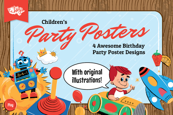 Children S Birthday Party Posters