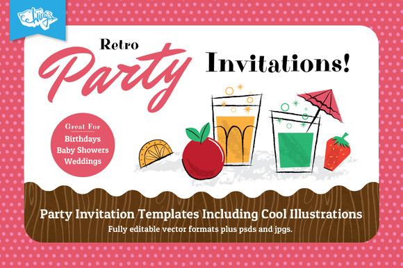 Retro Children S Party Invitations
