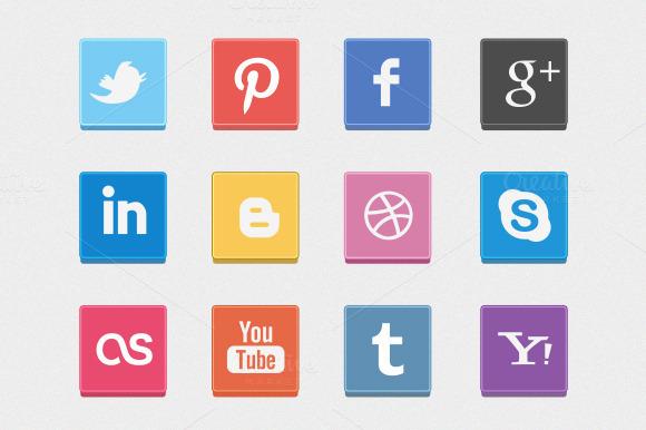 12 Box Social Icons
