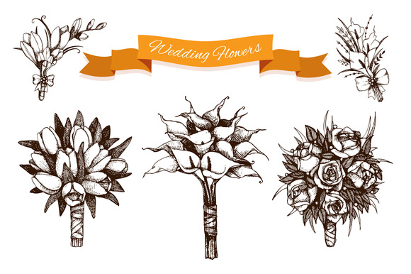 Ink Hand Drawn Wedding Flowers