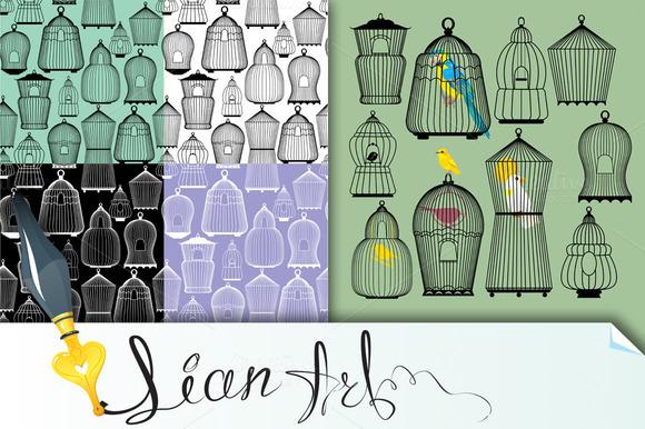 Set Of Decorative Bird Cage