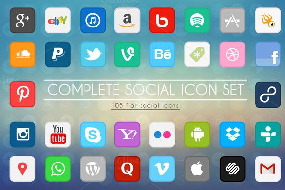210 Social Flat Icons