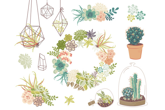 Wedding Succulents Floral Clipart
