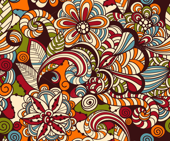 Vector Seamless Doodle Floral Patter