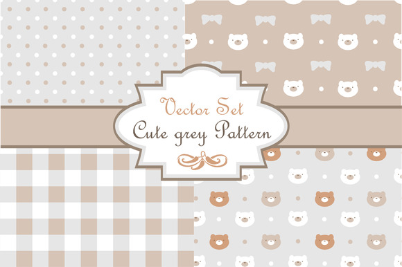 Vector Set Cute Grey Pattern