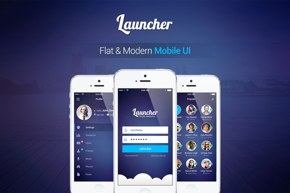 Launcher Flat Mobile UI