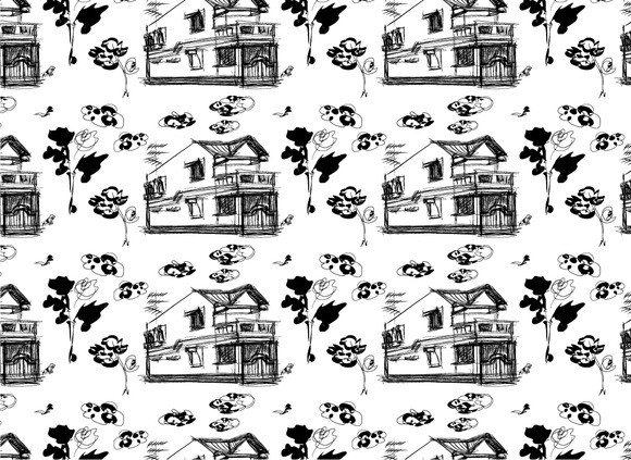 Seamless Pattern Background Of House