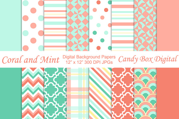 Trendy Coral N Mint Background Paper