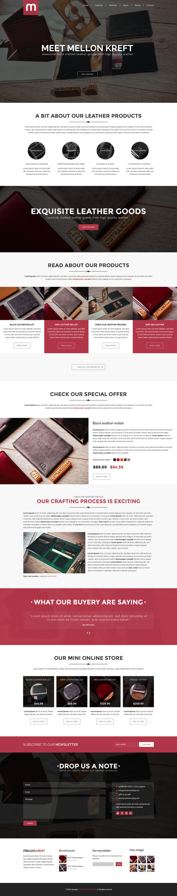 Mellon One Page Store Template PSD