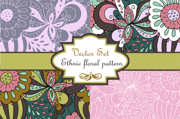 Vector Set Abstract Floral Pattern