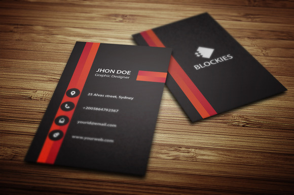 Vertical Business Card Template V.2