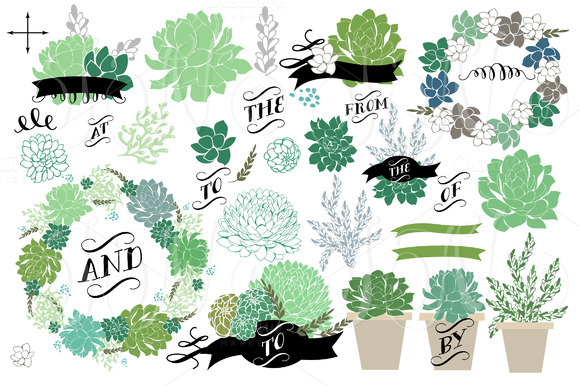 34 Wedding Succulents Floral Clipart