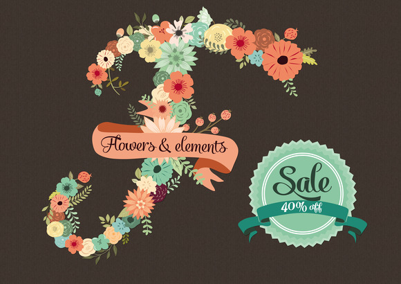 40 % Off Flowers Floral Elements