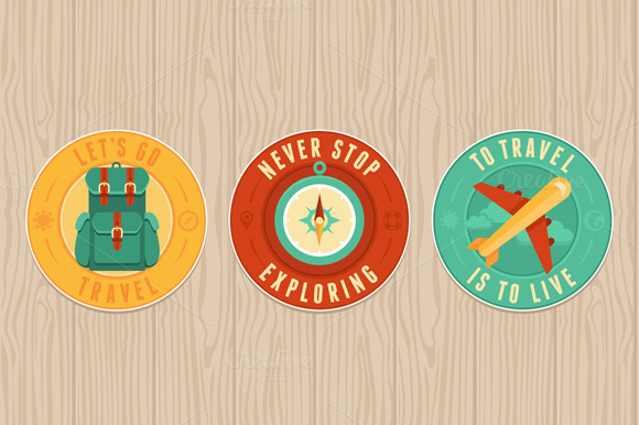 Travel Badges In Flat Style