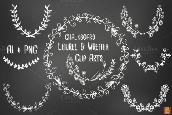 Chalkboard Laurel Wreath Vector PNG