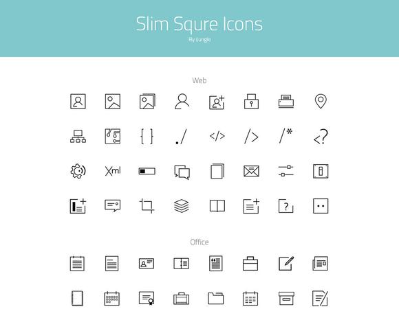 Slim Square Icons