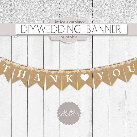 Thank You Burlap Lace Digital Banner