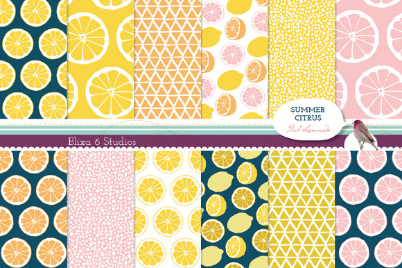 Summer Citrus Digital Lemon Patterns