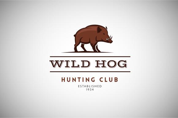 Wild Hog Vintage Logo Template