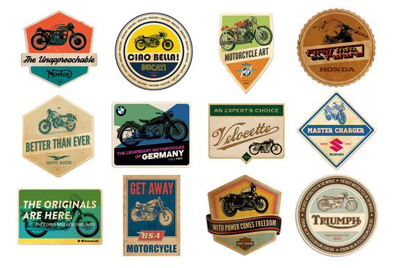 Retro Motorcycle Badges