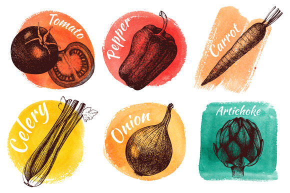 Vegetables On Watercolor Background