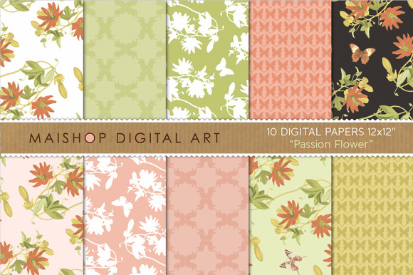 Digital Paper-Passion Flower