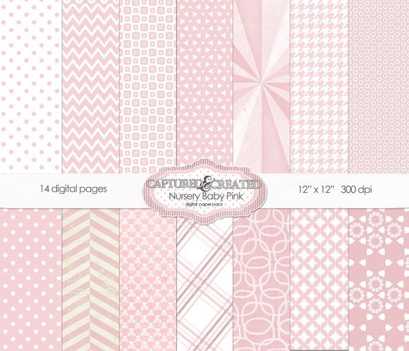 Nursery Baby Pink Digital Paper Pack