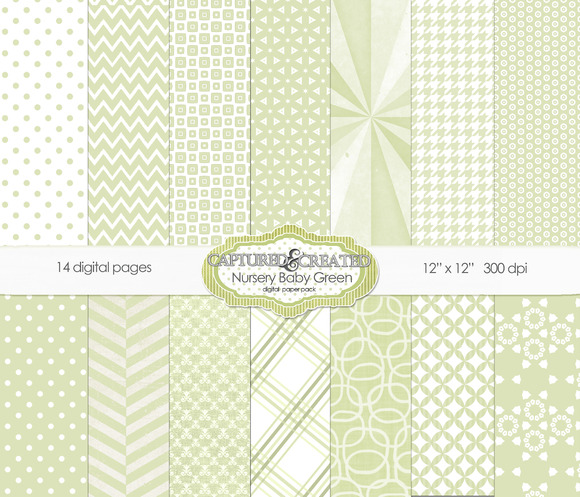 Nursery Baby Green Paper Pack