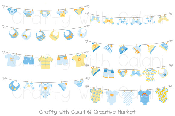 Blue Baby Laundry Bunting