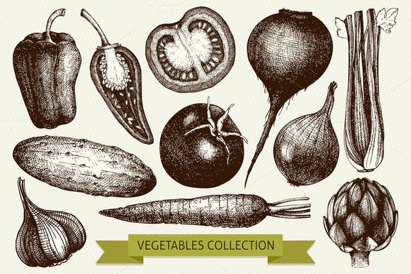 Ink Hand Drawn Vegetables Set