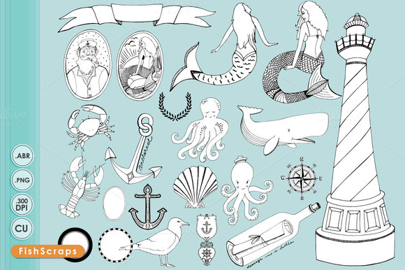 Nautical Digital Stamps Brushes