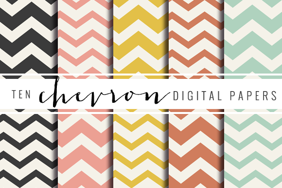 Summer Chevron Stripe Digital Paper