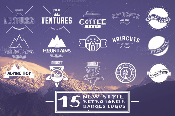 15 New Style Retro Badges Labels