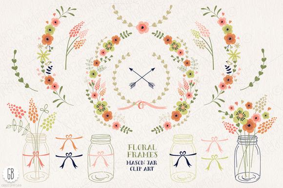 Floral Frames Mason Jars Flowers