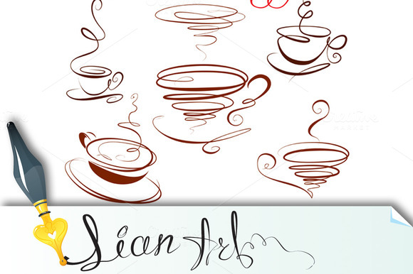 Set Of Coffee Cups Icons