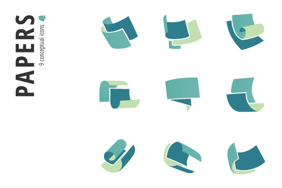 Papers Icon Set