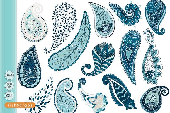 Paisley ClipArt Ocean Blue