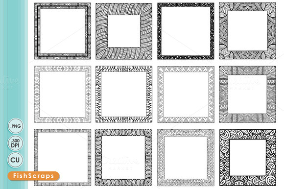 8 Inch Square Frames Zentangle
