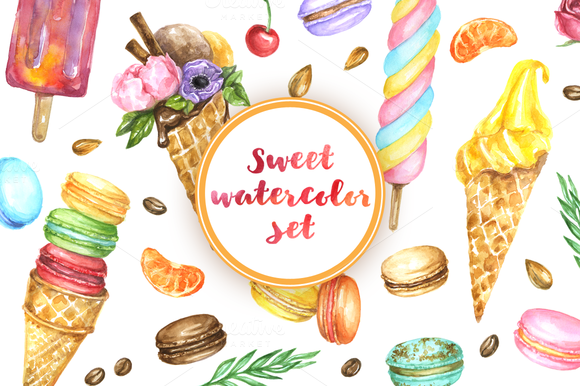 Summer Desserts Watercolor DIY Kit