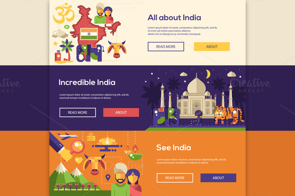 Traveling To India Headers Set