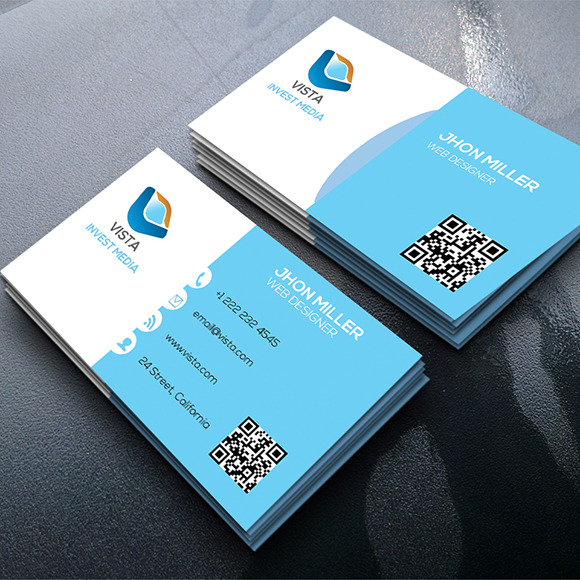 Modern graphic design business card designs designtube for Vista business card