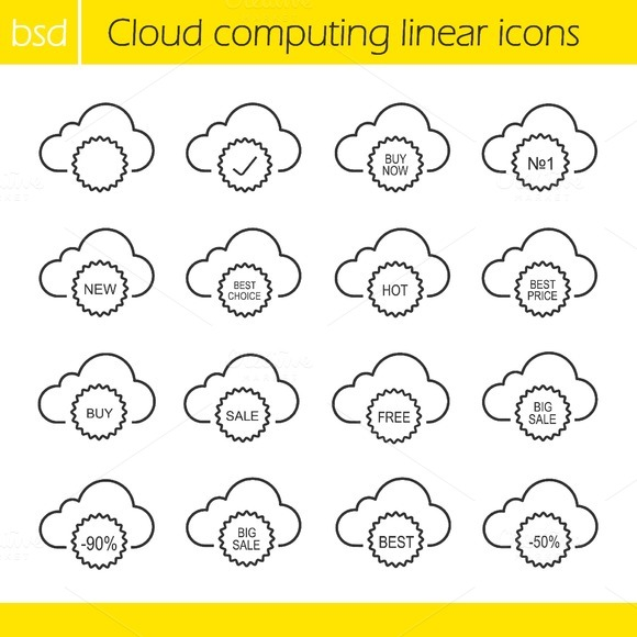 Stock Graphic - Cloud Computing Icons Vector » Logotire.com