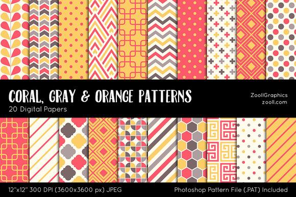 Coral Gray Orange Digital Papers