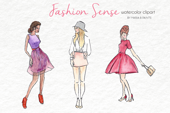 Watercolor Clip Art Fashion Sense