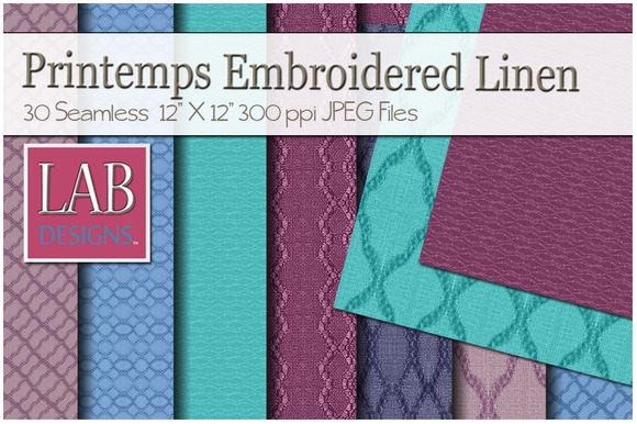 30 Embroidered Linen Fabric Textures